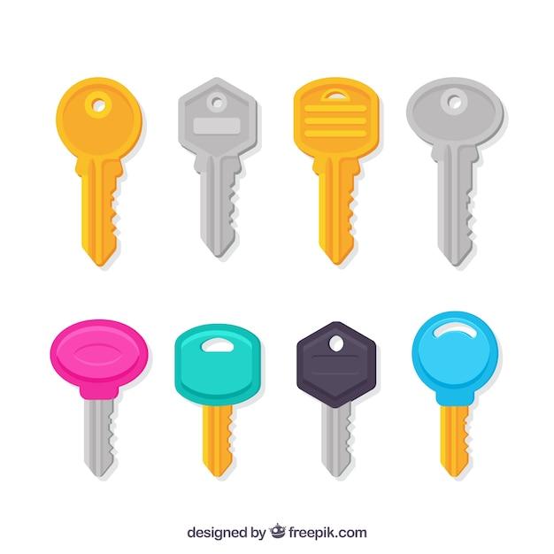 Collection de clés de différentes couleurs Vecteur gratuit