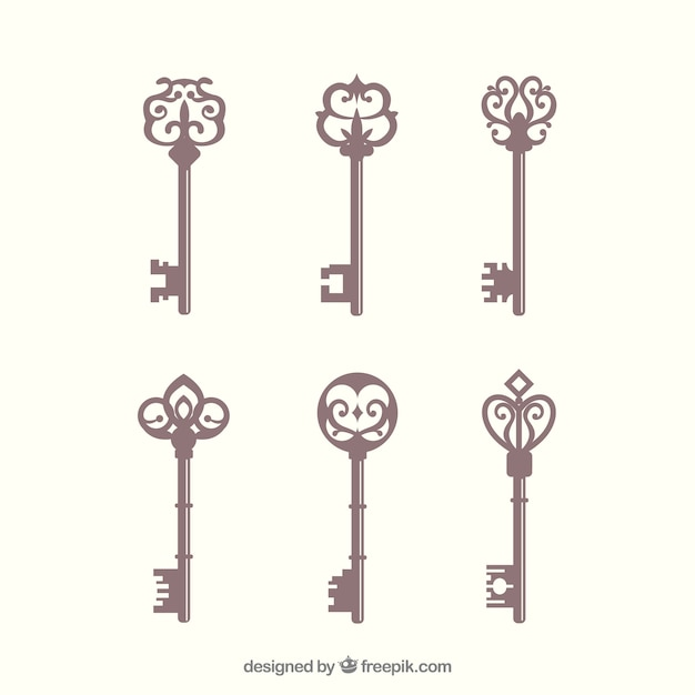 Collection de clés vintage Vecteur gratuit