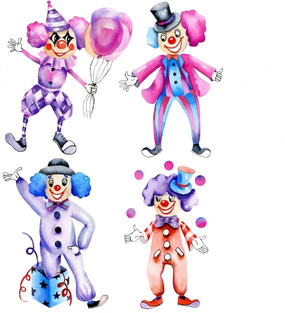 Collection de clowns de cirque aquarelle Vecteur Premium