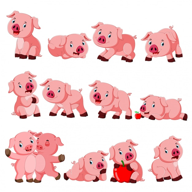 Collection de cochon mignon avec divers posant Vecteur Premium