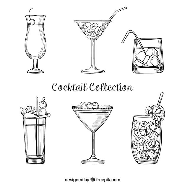 Collection De Cocktail Dessiné à La Main Avec Un Style Fragmentaire Vecteur Premium