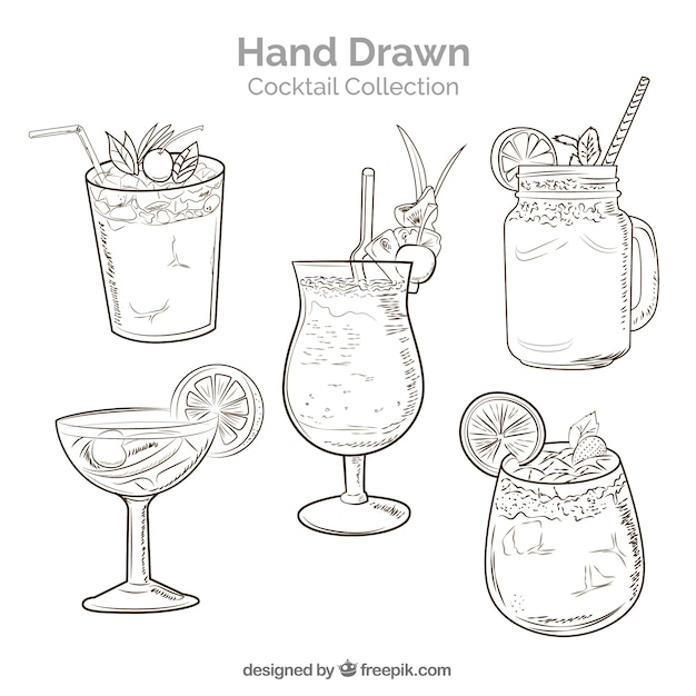 Collection de cocktail dessiné à la main avec un style fragmentaire Vecteur gratuit