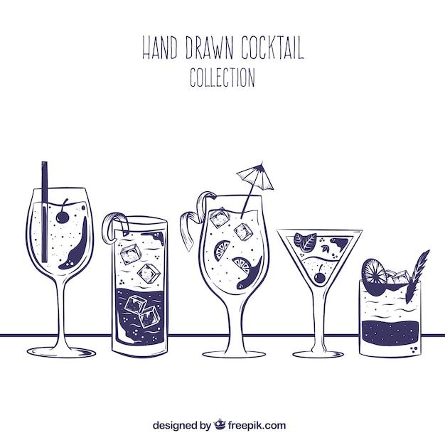 Collection De Cocktail Dessiné à La Main Vecteur gratuit
