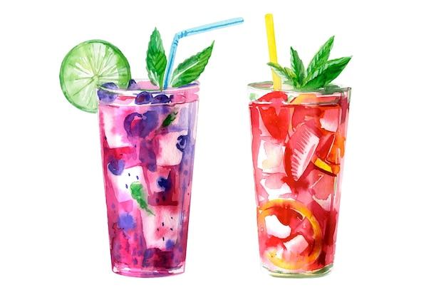 Collection De Cocktails Aquarelle Vecteur gratuit
