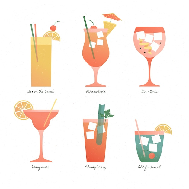 Collection De Cocktails Au Design Plat Vecteur gratuit