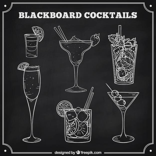 Collection De Cocktails Au Style Tableau Noir Vecteur Premium
