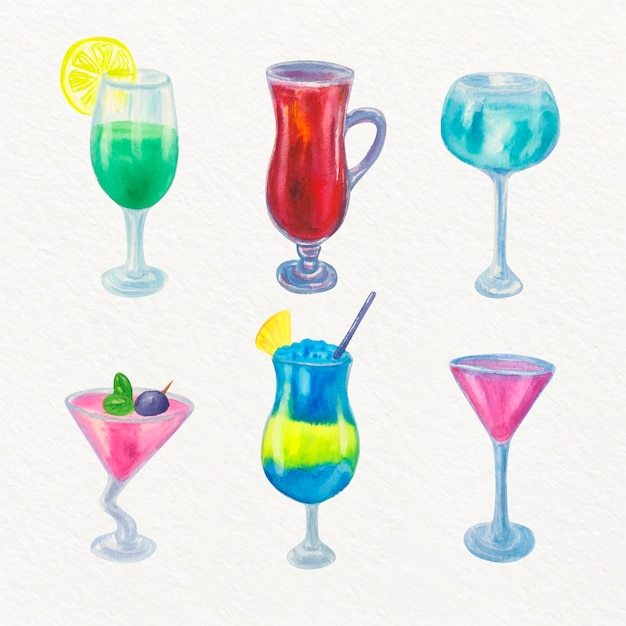 Collection De Cocktails Design Aquarelle Vecteur gratuit