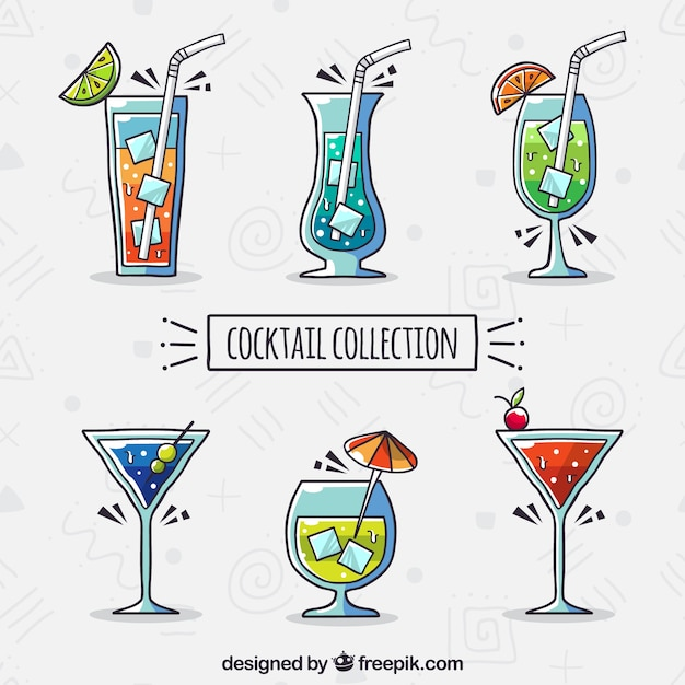 Collection de cocktails avec un design plat Vecteur gratuit
