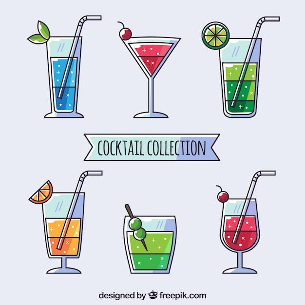 Collection de cocktails avec un design plat Vecteur gratuit