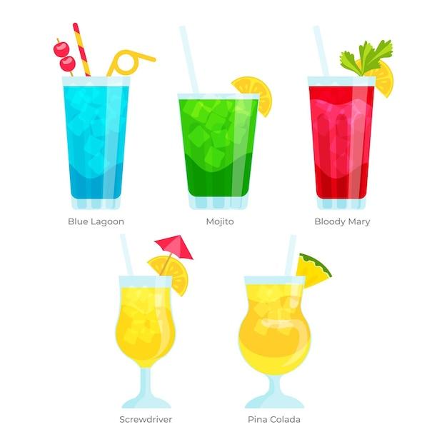 Collection De Cocktails Design Plat Vecteur gratuit