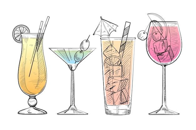 Collection De Cocktails Dessinés à La Main Vecteur Premium