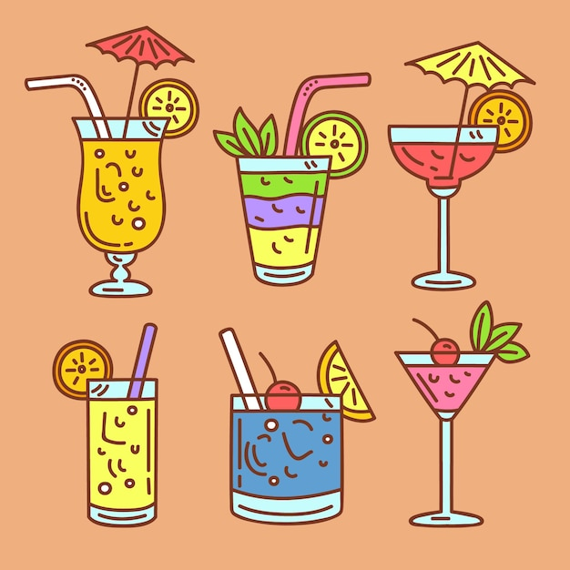 Collection De Cocktails Dessinés à La Main Vecteur gratuit