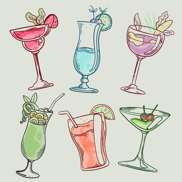 Collection De Cocktails Dessinés à La Main Vecteur gratuit
