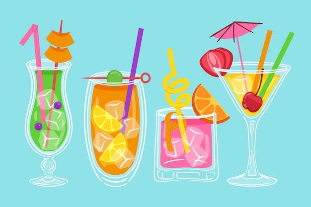 Collection De Cocktails Dessinés Vecteur gratuit