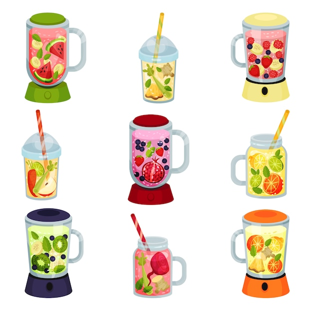 Collection De Cocktails De Fruits De Dessin Animé Sur Fond Blanc. Vecteur Premium