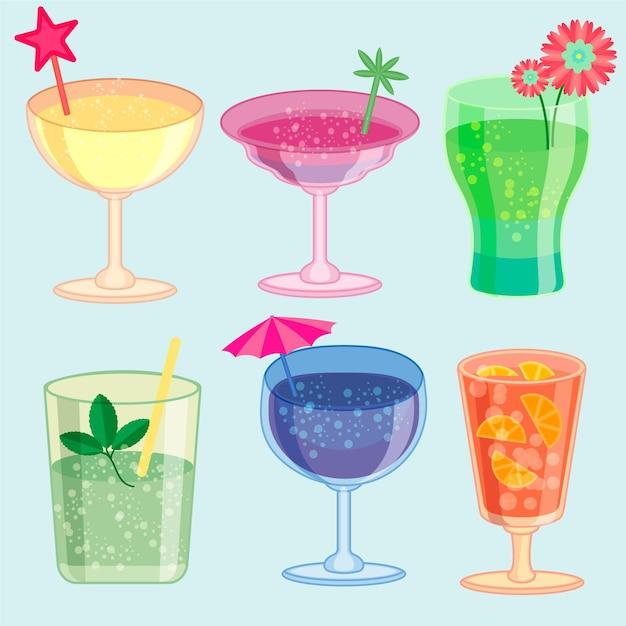Collection De Cocktails Plats Vecteur gratuit
