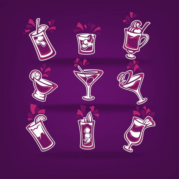 Collection De Cocktails Pour Votre Menu De Fête Sur Violet Foncé Vecteur Premium
