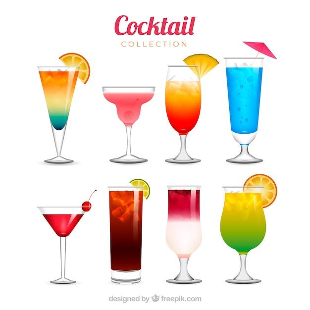 Collection de cocktails rafraîchissante dans un style réaliste Vecteur gratuit