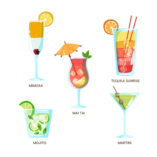 Collection De Cocktails Rafraîchissants Dessinés à La Main Vecteur gratuit