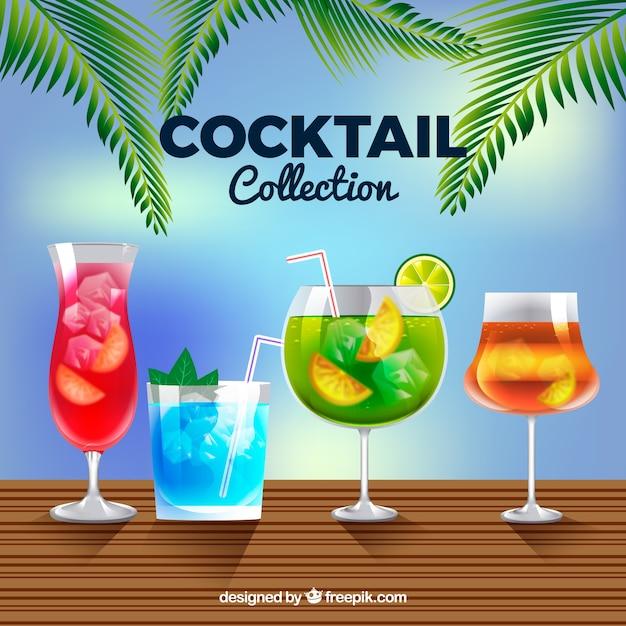 Collection de cocktails réaliste Vecteur gratuit