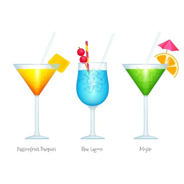 Collection De Cocktails Réalistes Vecteur gratuit