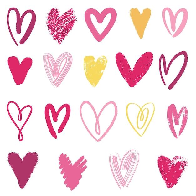 Collection De Coeur Dessiné à La Main Vecteur gratuit