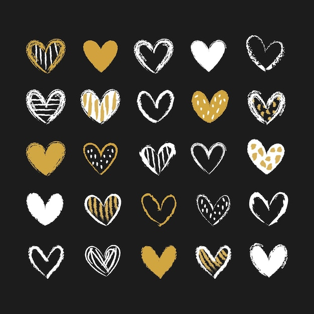 Collection De Coeur Dessiné à La Main Vecteur Premium