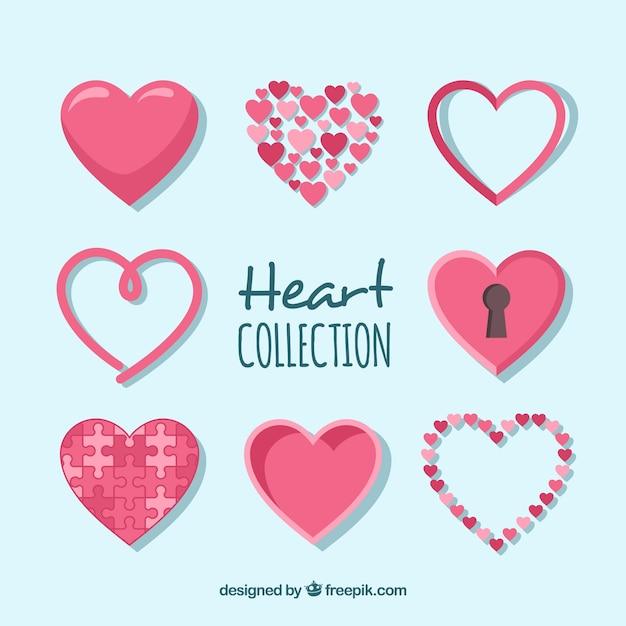 Collection De Coeur Plat Vecteur gratuit