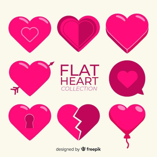 Collection coeur plat Vecteur gratuit