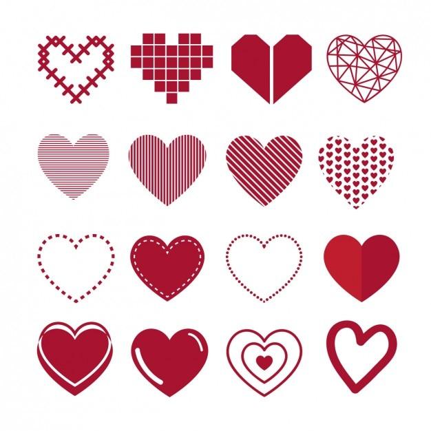 Collection De Coeur Vecteur gratuit