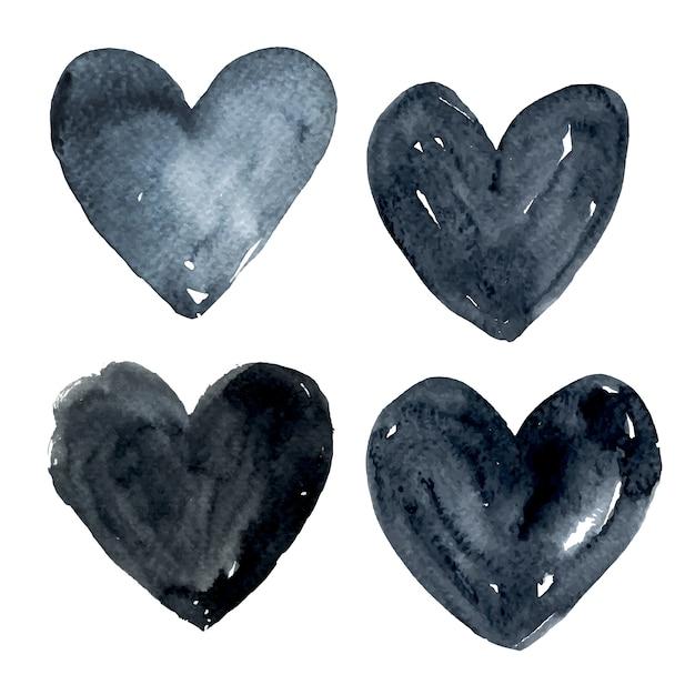 Collection de coeurs d'aquarelle noire Vecteur gratuit