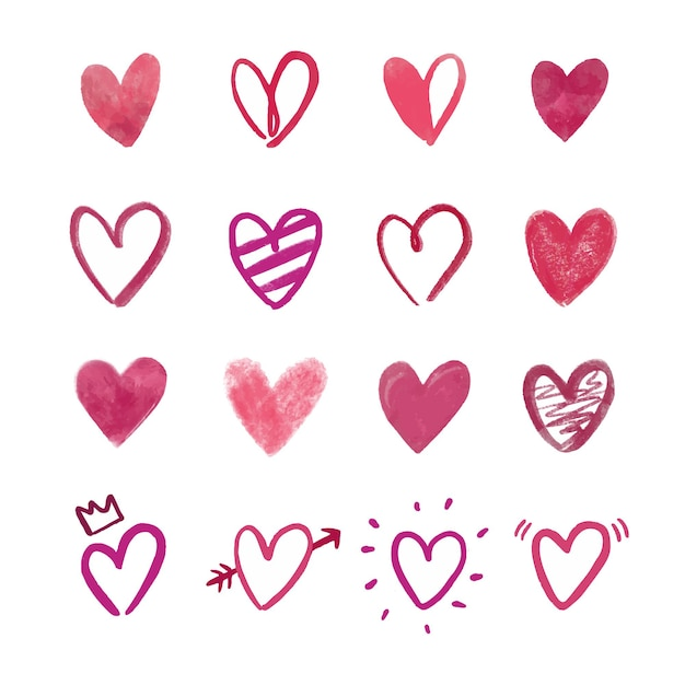 Collection De Coeurs Dessinés à La Main Vecteur gratuit