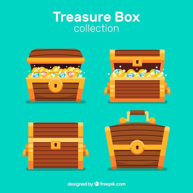 Collection de coffre au trésor antique avec un design plat Vecteur gratuit