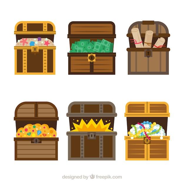 Collection de coffre au trésor en bois avec un design plat Vecteur gratuit