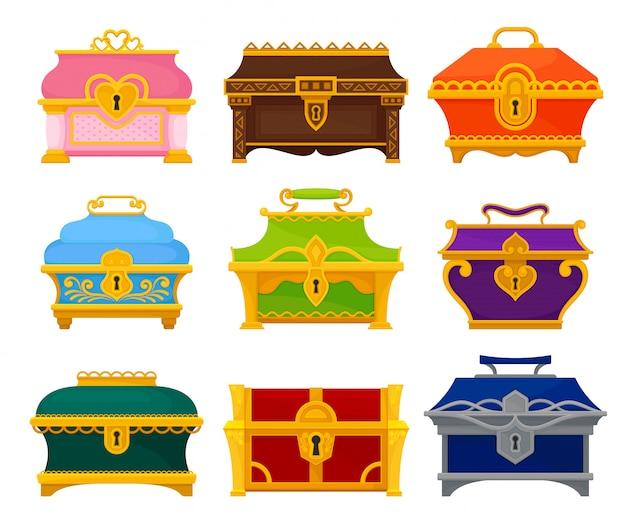 Collection De Coffres Colorés Sur Fond Blanc. Vecteur Premium