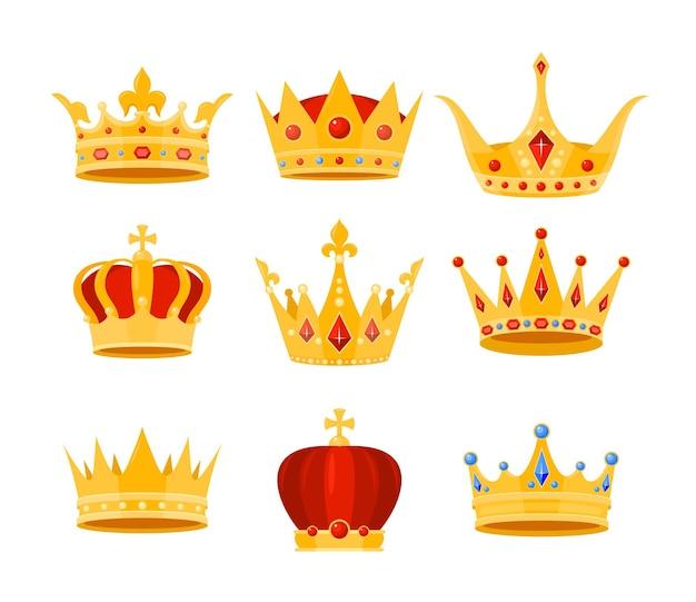 Collection De Coiffe De Bijou De Couronnes De Monarque De Luxe, Empereur Ou Reine, Symboles Impériaux De La Monarchie Vecteur Premium