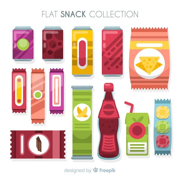 Collection de collations colorées avec un design plat Vecteur gratuit