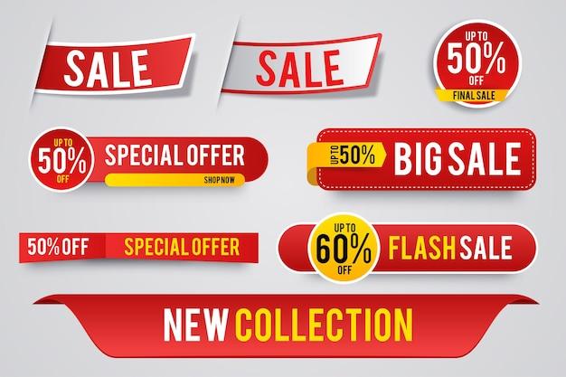 Collection Colorée D'autocollants Et D'étiquettes De Vente Moderne Vecteur gratuit