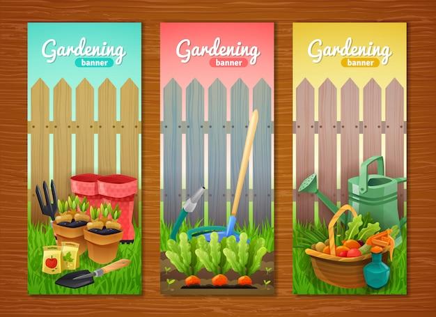 Collection colorée de bannières verticales de jardinage Vecteur gratuit
