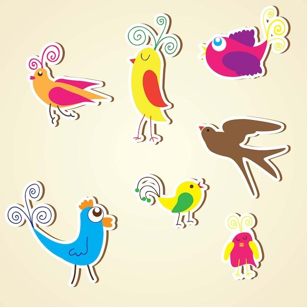 Collection colorée d'oiseaux icônes set illustrations de vecteurs Vecteur Premium