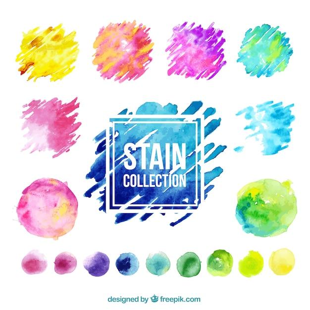 Collection colorée de tache aquarelle Vecteur gratuit