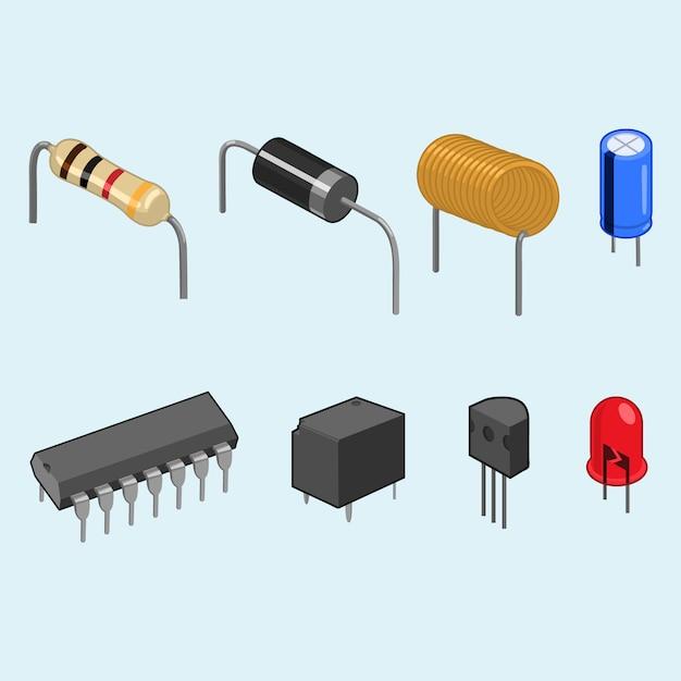 Collection de composants électroniques Vecteur Premium