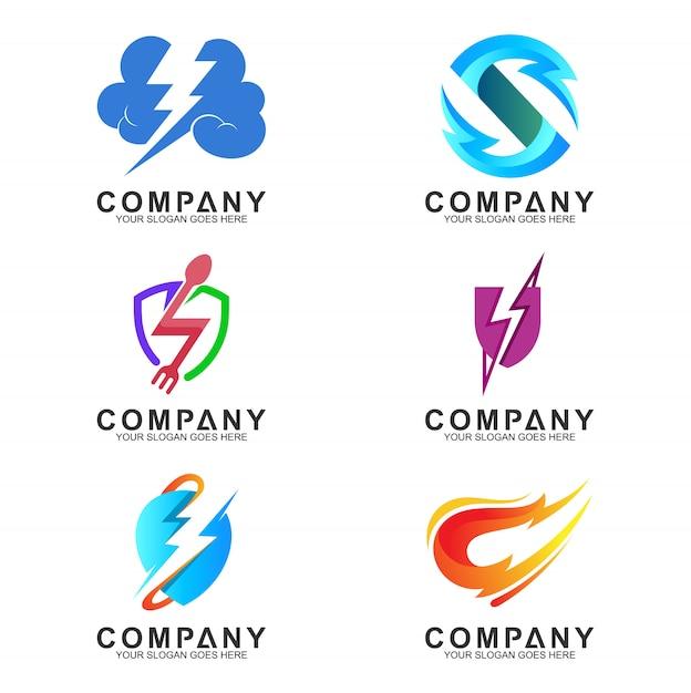 Collection concept créatif logo tonnerre Vecteur Premium