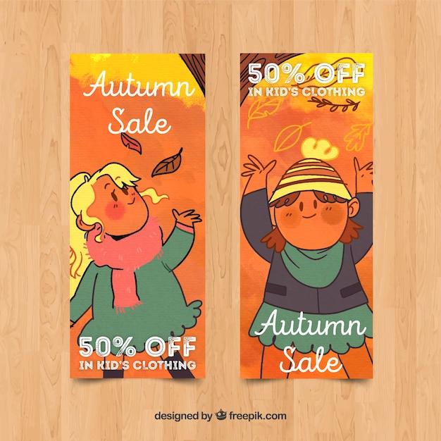Collection de conception aquarelle de bannière de vente automne Vecteur gratuit
