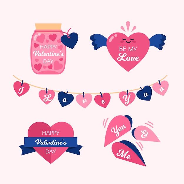 Collection De Conception D'insigne Mignon Coeurs Roses Valentine Vecteur gratuit