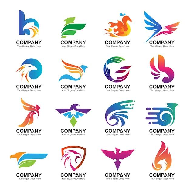 Collection de conception de logo aigle coloré Vecteur Premium