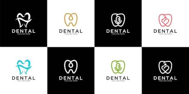 Collection De Conception De Logo Dentaire Moderne Vecteur Premium