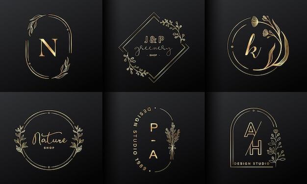Collection De Conception De Logo De Luxe. Emblèmes Dorés Avec Initiales Et Décorations Florales Pour Le Logo De Marque, L'identité D'entreprise Et La Conception De Monogramme De Mariage. Vecteur gratuit