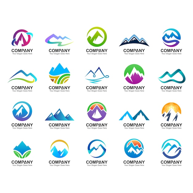 Collection de conception de logo de montagne, icônes de la nature, ensemble de logo de montagne abstraite Vecteur Premium