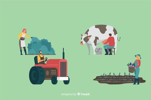 Collection de conception plate des travailleurs agricoles Vecteur gratuit